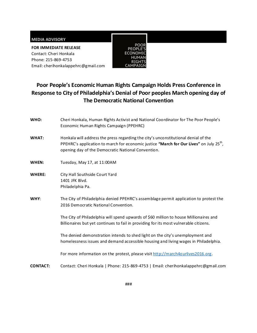 Media Advisory - Press Conference - City Denies March for Economic Justice